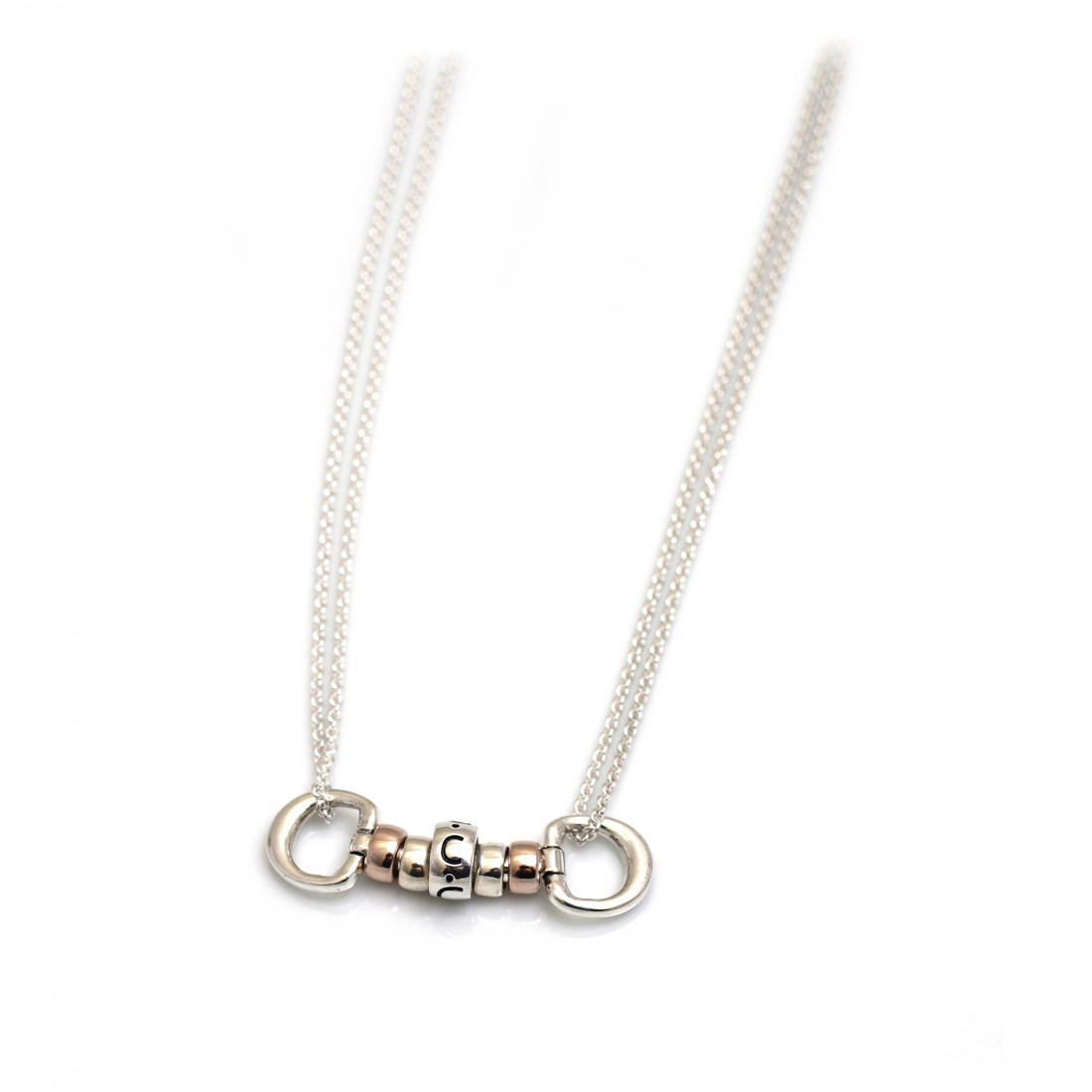 Exclusive Sterling Silver & 18ct Rose Gold Plated Cherry Roller Necklace With Letter Bead - Hiho ...