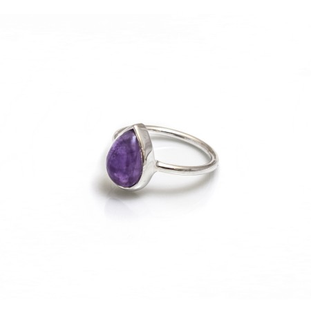 Sterling Silver And Amethyst Teardrop Ring