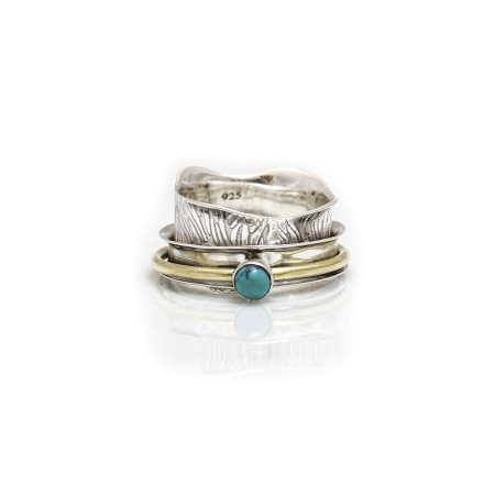 Sterling Silver And Two Tone Turquoise Spinner Ring