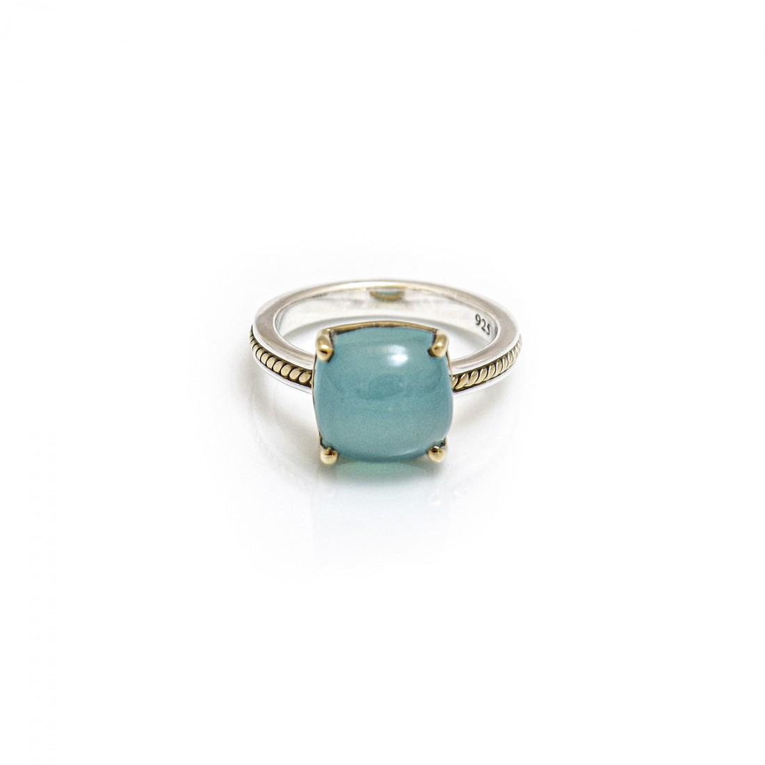Sterling Silver & Two Tone Aqua Blue Chalcedony Stone Ring