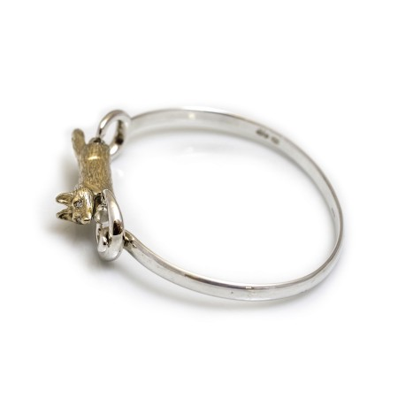 Exclusive Sterling Silver & Solid 9ct Gold Foxy Bangle With Diamond Eyes