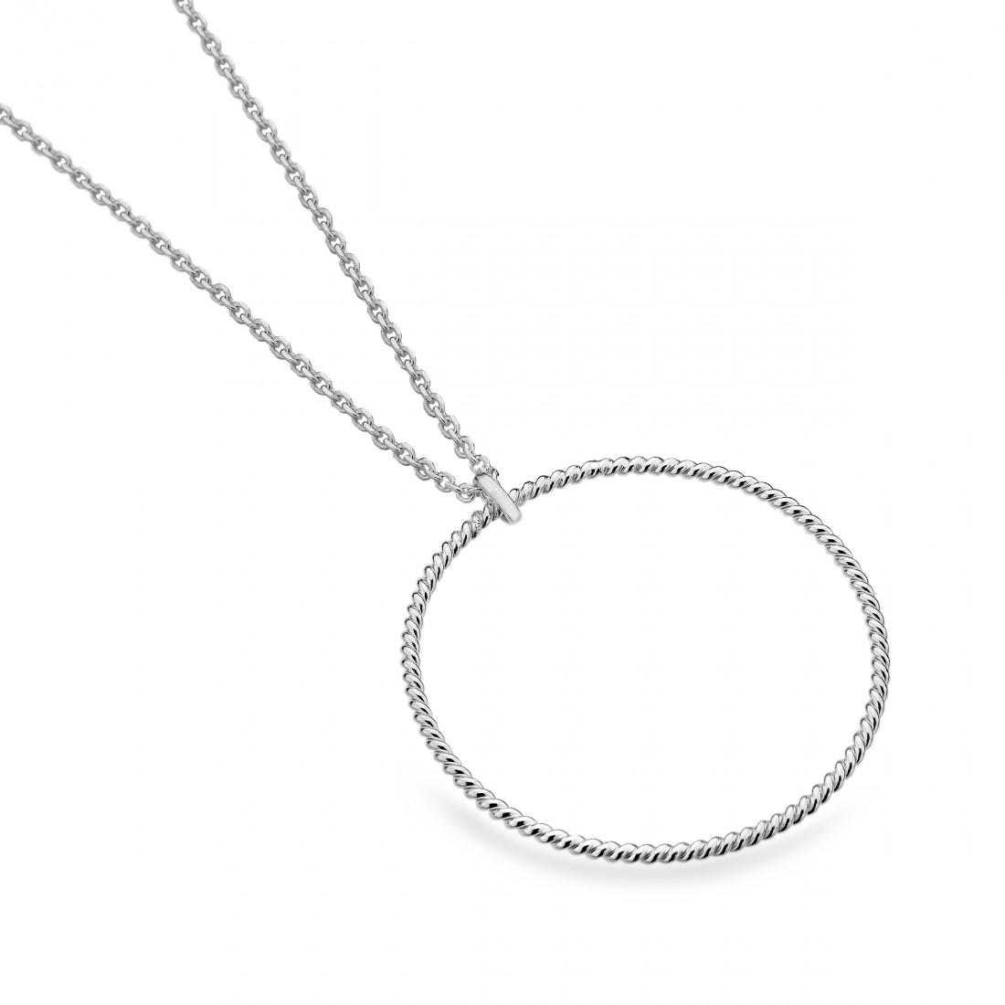 Sterling Silver Spiral Hoop Necklace