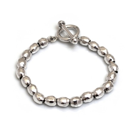 Sterling Silver Hammered Bead Bracelet