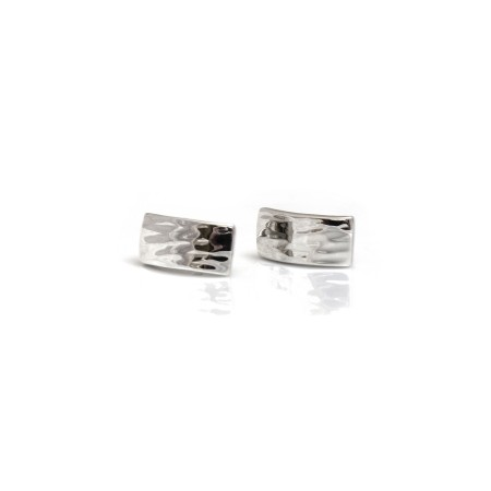 Sterling Silver Hammered Convex Stud Earrings