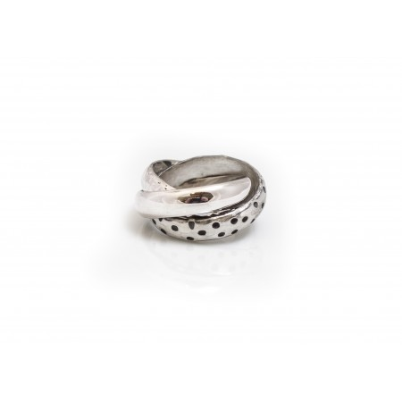 Sterling Silver Hammered, Plain and Leopard Print Russian Ring
