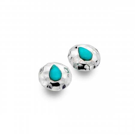 Hammered Sterling Silver & Turquoise Stud Earrings