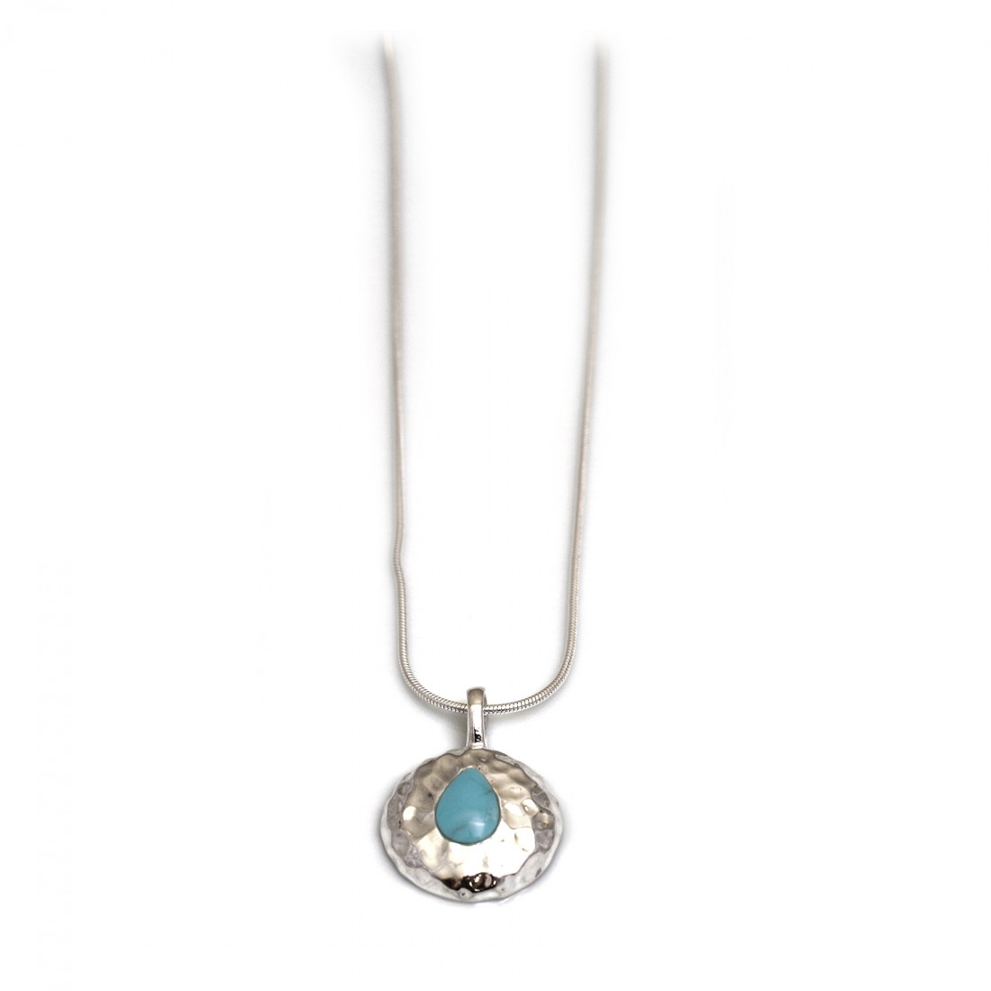 Hammered Sterling Silver & Turquoise Pendant With Chain