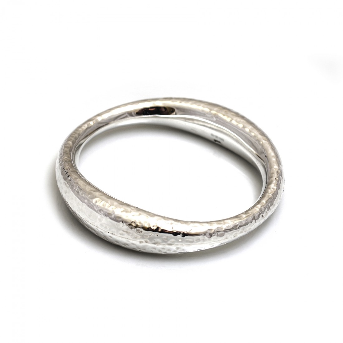 Sterling Silver Hammered Oval Bangle