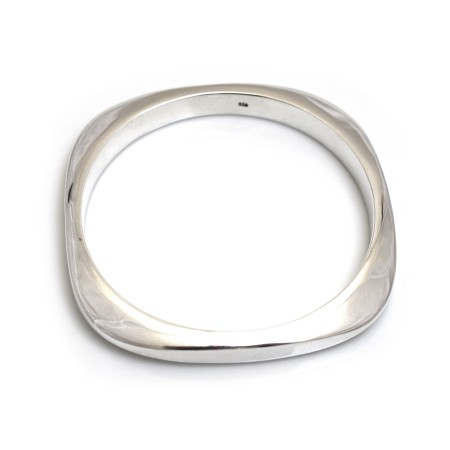 Sterling Silver Curvy Square Bangle