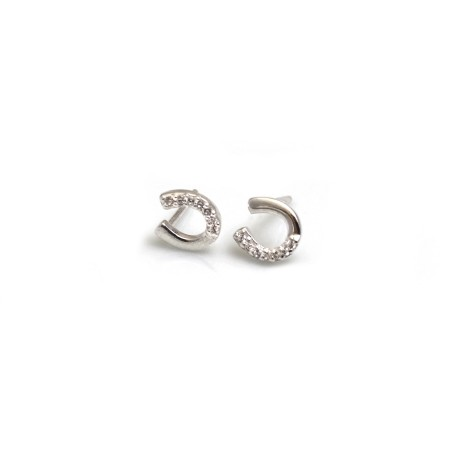 CZ and Sterling Silver Horseshoe Stud Earrings