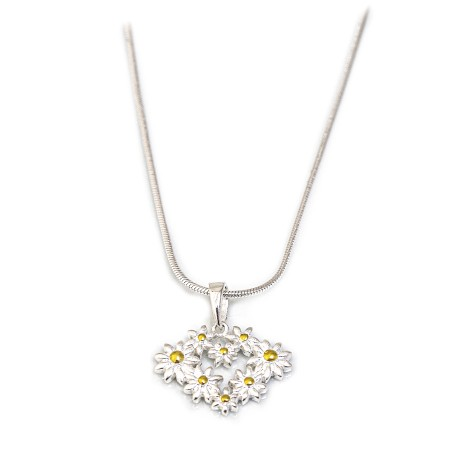 Sterling Silver & 18ct Gold Plated Daisy Heart Pendant With Snake Chain