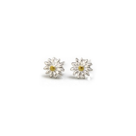 Sterling Silver & 18ct Gold Plated Rounded Daisy Stud Earrings