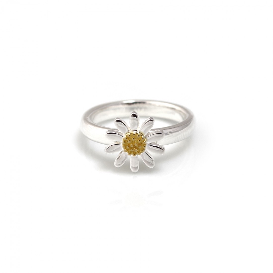 Sterling Silver & 18ct Gold Plated Classic Daisy Ring