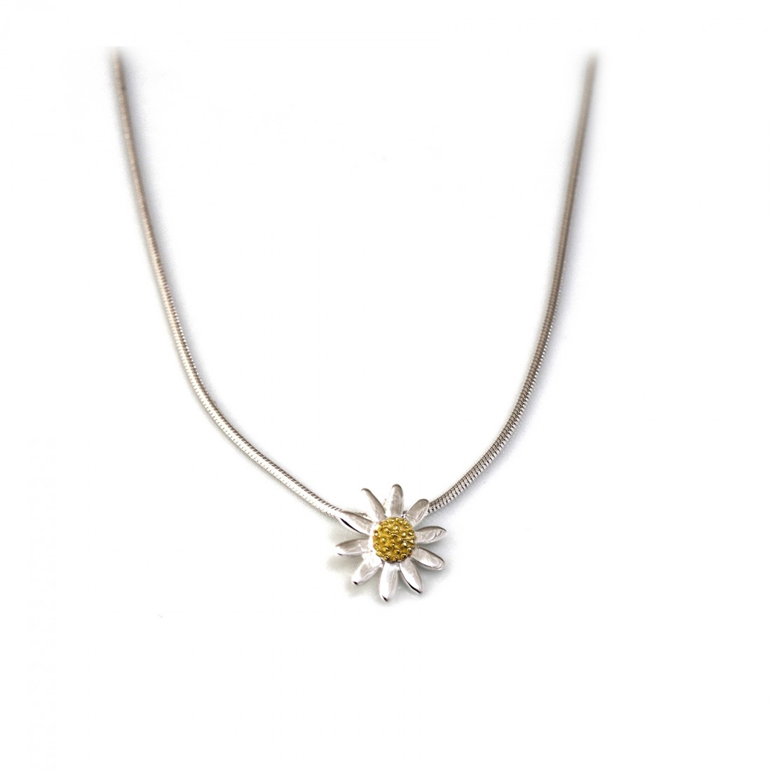 Sterling Silver & 18ct Gold Plate Classic Daisy Pendant With Chain