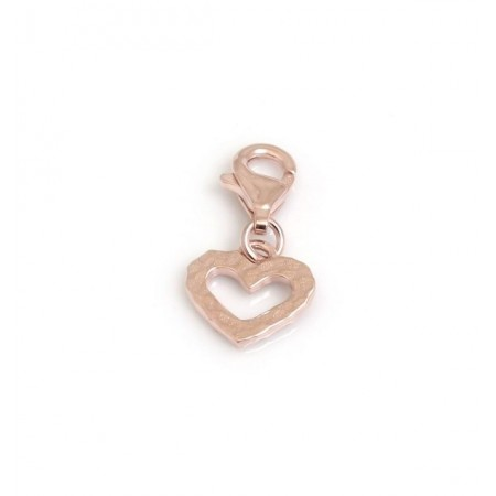 Exclusive Sterling Silver & 18ct Rose Gold Vermeil Hammered Heart Charm