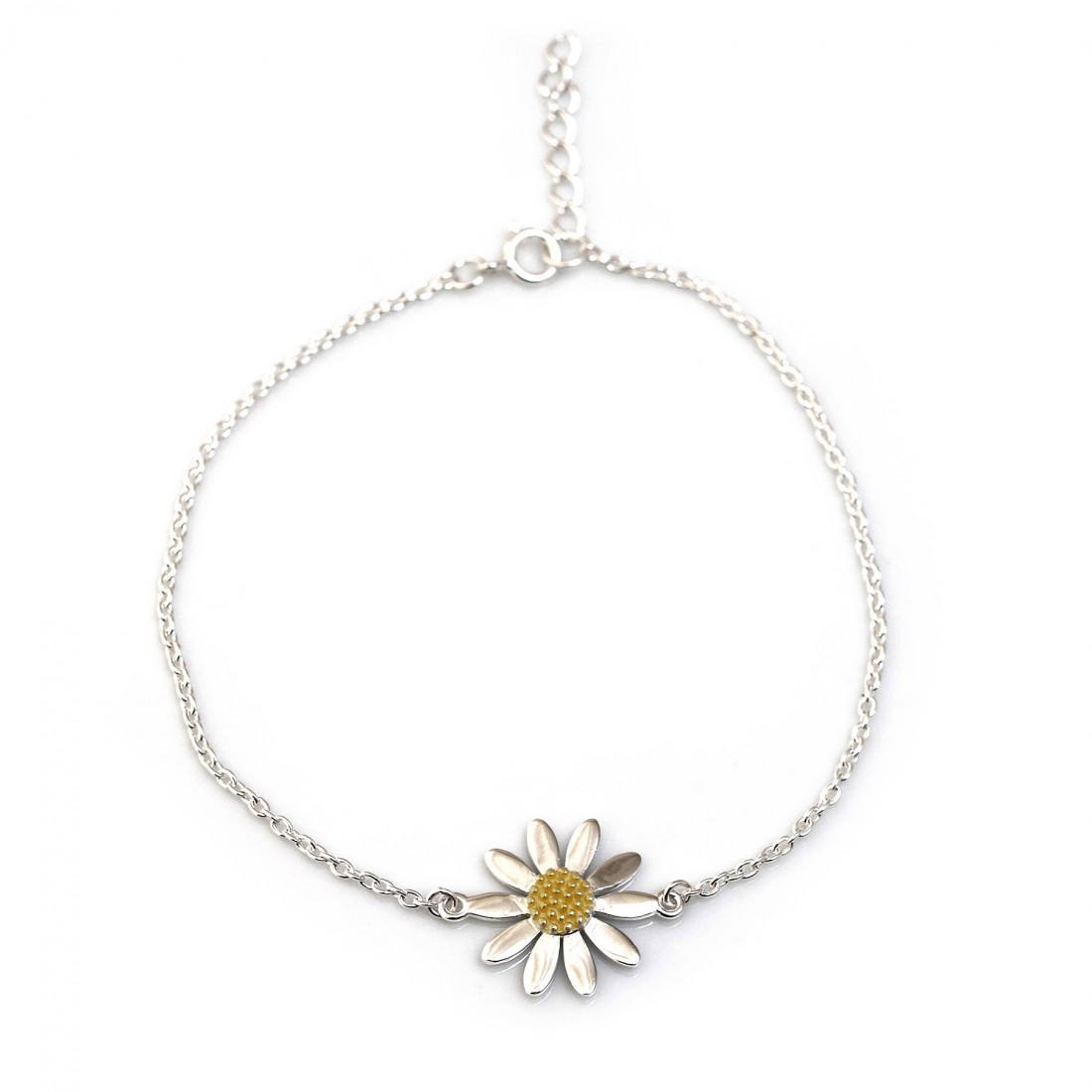 Sterling Silver & 18ct Gold Plated Classic Daisy Bracelet