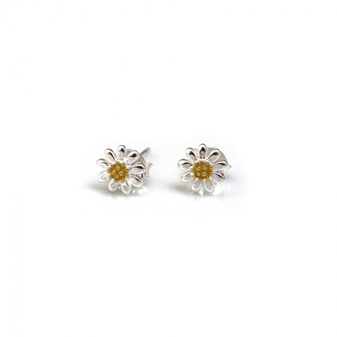 Sterling Silver & 18ct Gold Plated Classic Daisy Stud Earrings