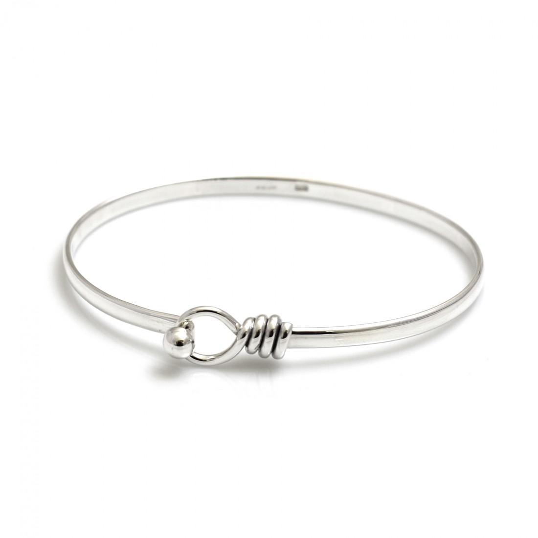 Sterling Silver Spiral Circle Clip Bangle