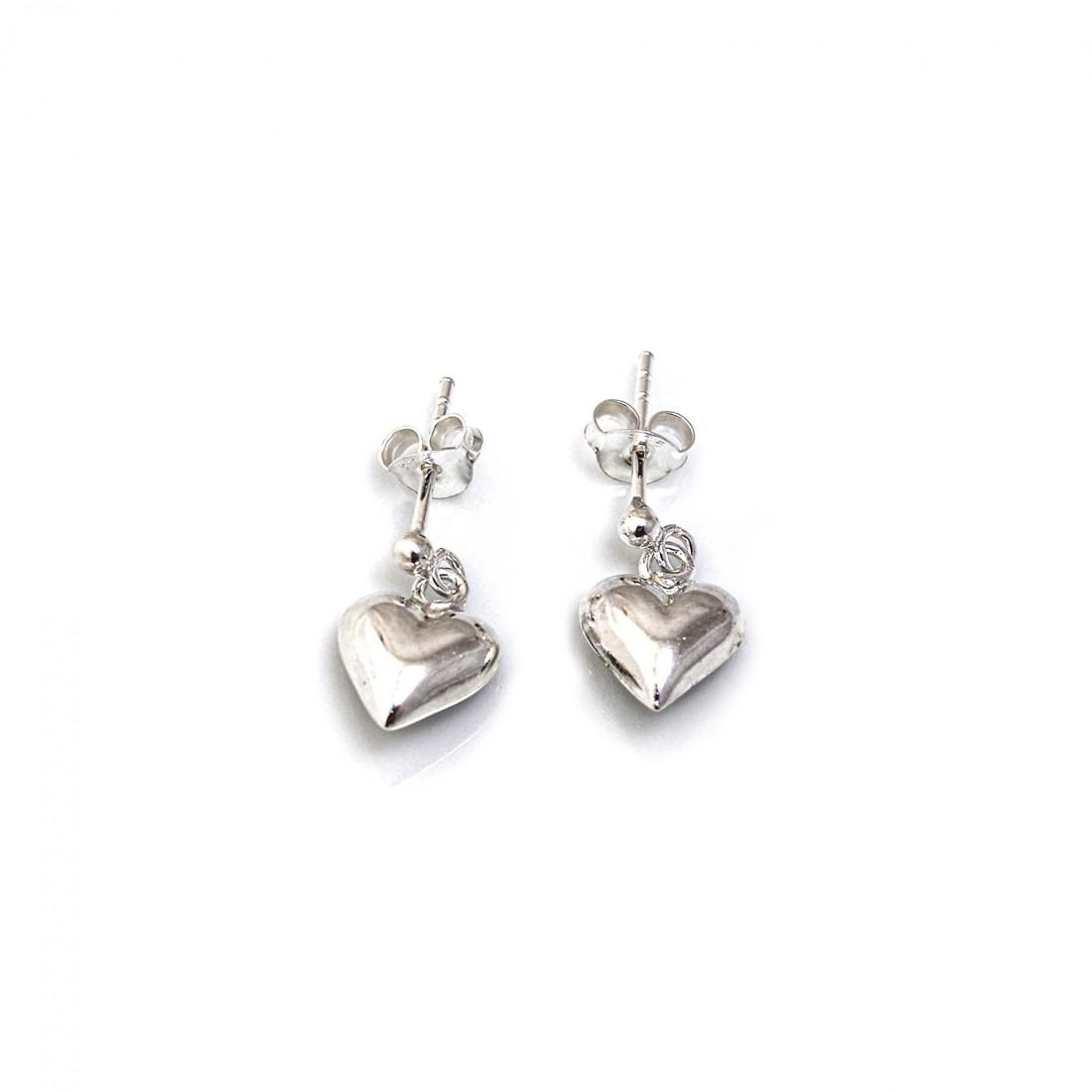 Sterling Silver Dangly Heart Earrings