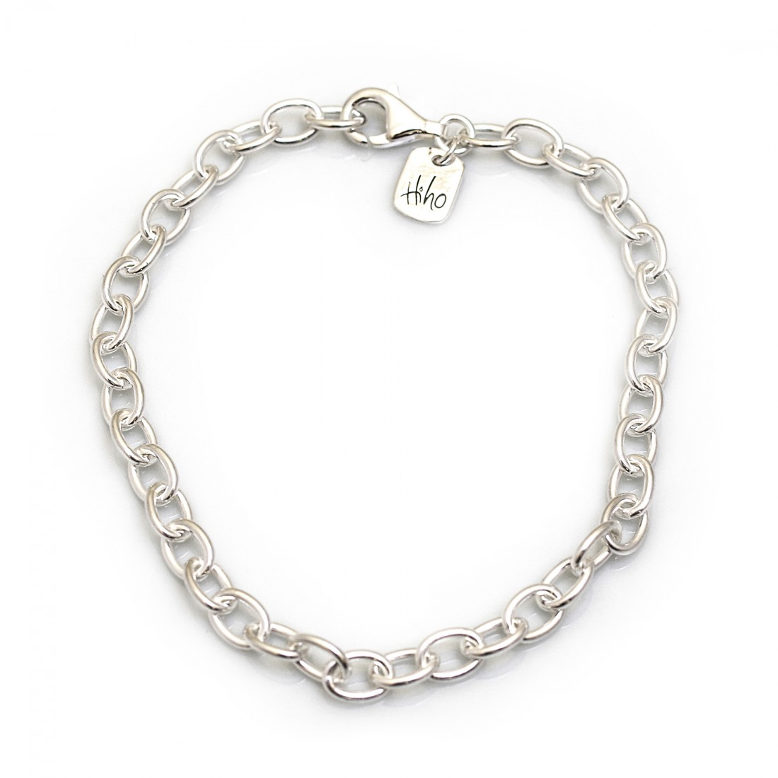 Sterling Silver Oval Linked Fob Bracelet