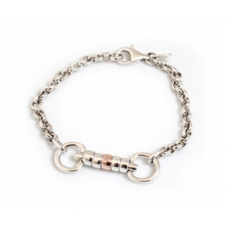 Exclusive Sterling Silver & 9ct Rose Gold Classic Cherry Roller Snaffle Fob Bracelet