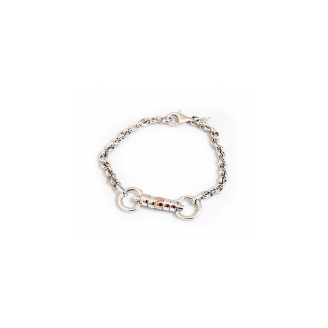 Exclusive Sterling Silver & 9ct Rose Gold Classic Cherry Roller Snaffle Fob Bracelet - Equestrian Jewellery