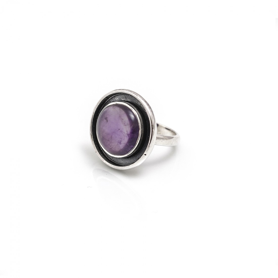 Sterling Silver & Amethyst Halo Ring