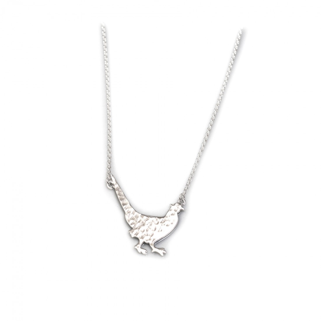 Exclusive Hammered Sterling Silver Pheasant Necklace