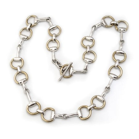 Sterling Silver Two Tone Snaffle Necklace