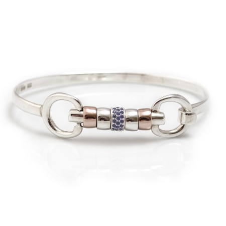 Exclusive Sterling Silver & 18ct Rose Gold Vermeil Cherry Roller Snaffle Bangle With Blue CZ Starlight Roller Bead