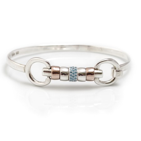 Exclusive Sterling Silver & 18ct Rose Gold Vermeil Cherry Roller Snaffle Bangle With Turquoise CZ Starlight Roller Bead