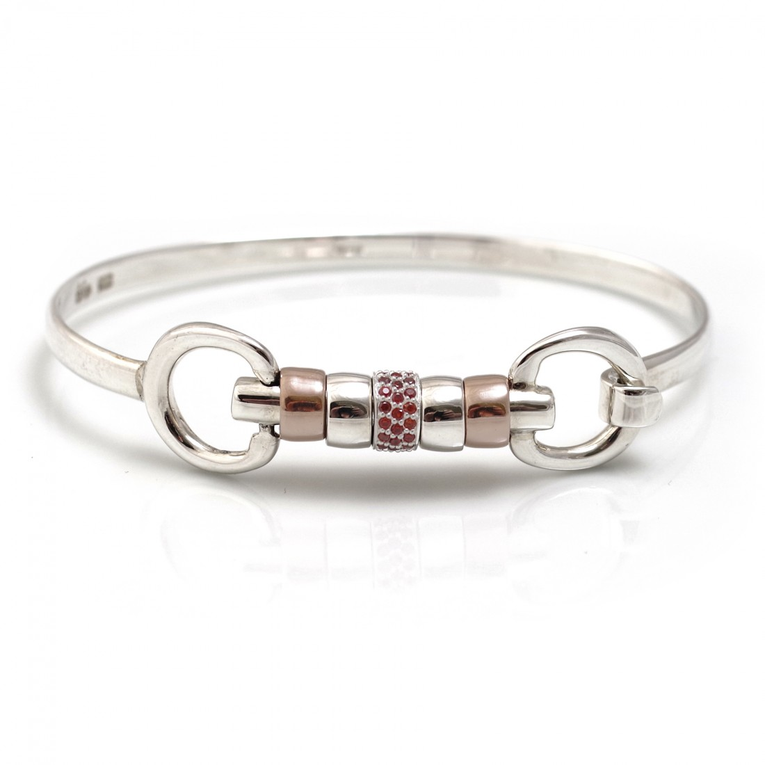 Exclusive Sterling Silver & 18ct Rose Gold Vermeil Cherry Roller Snaffle Bangle With Red CZ Starlight Roller Bead