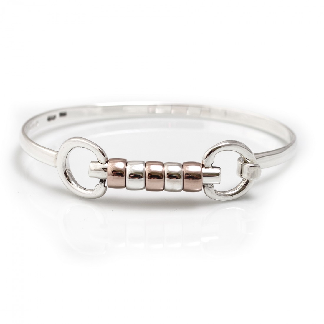 Exclusive Sterling Silver & 18ct Rose Gold Vermeil Cherry Roller Snaffle Bangle - Equestrian Jewellery
