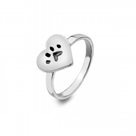 Sterling Silver Paw Print Heart Ring