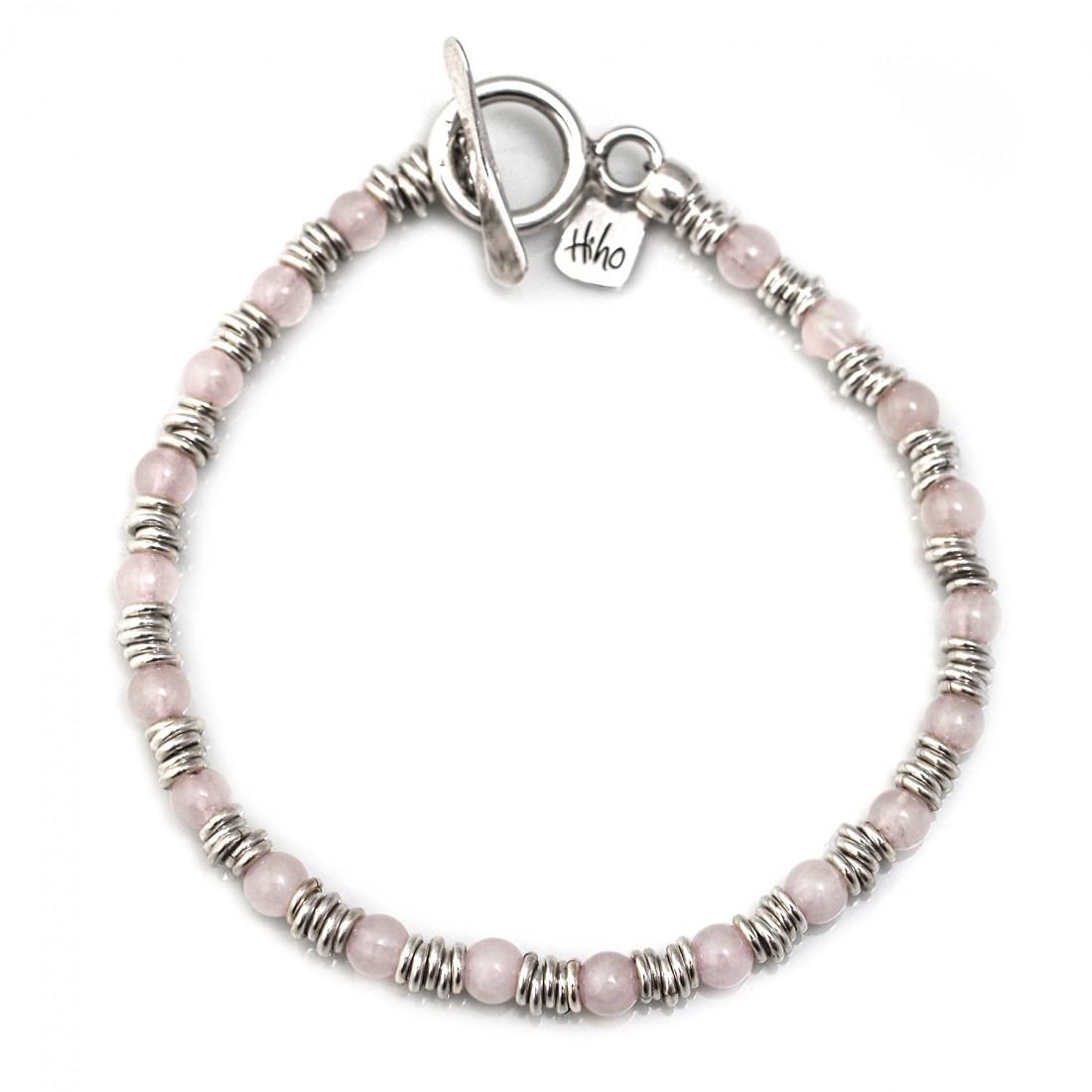 Sterling Silver Multi Link & Rose Quartz Bracelet