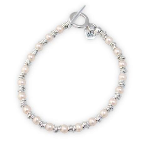 Sterling Silver Freshwater Pearl & Multi Link Bracelet