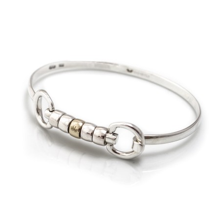 Exclusive Sterling Silver & Solid 9ct Yellow Gold Cherry Roller Snaffle Bangle