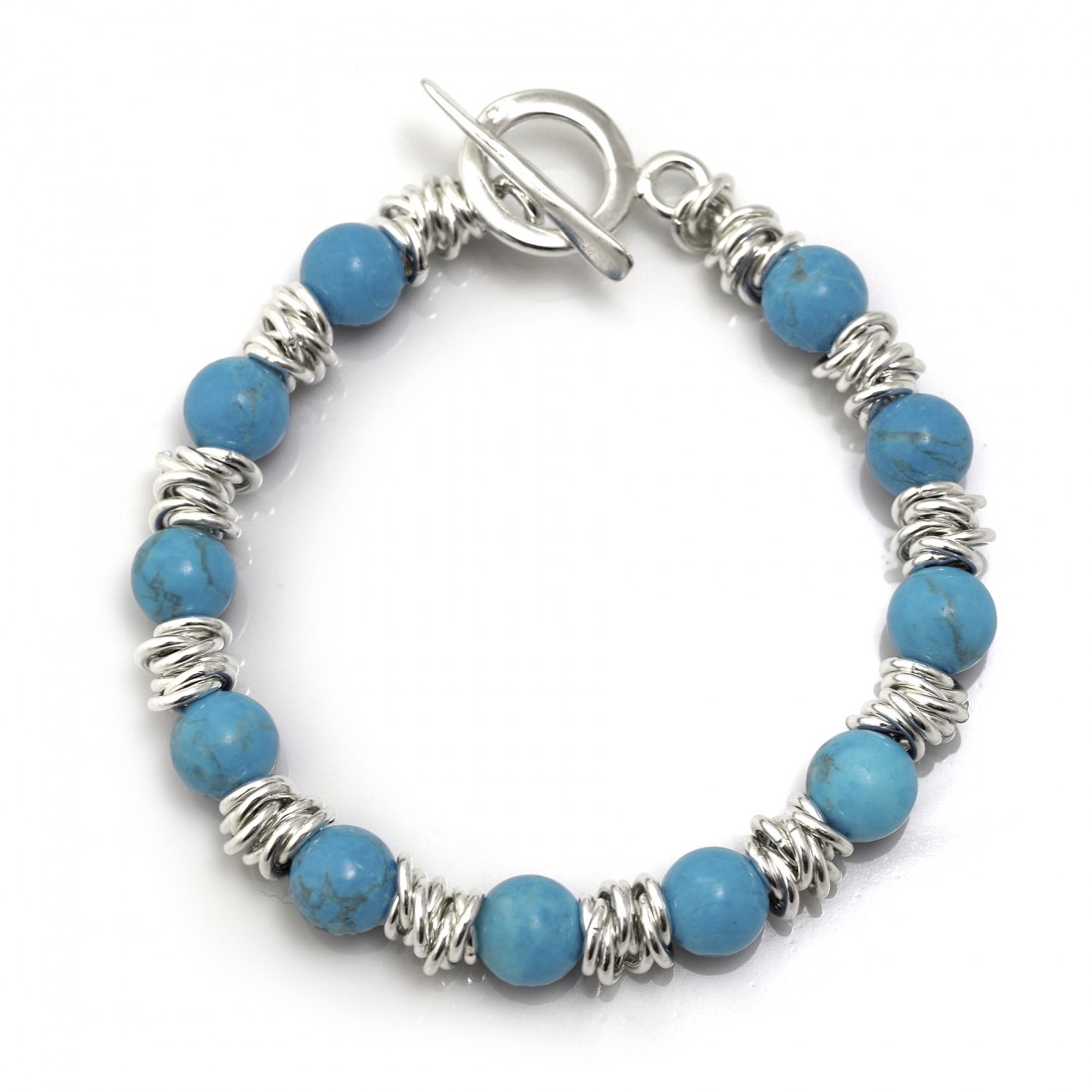Classic Sterling Silver Multi-Links Bracelet With Turquoise
