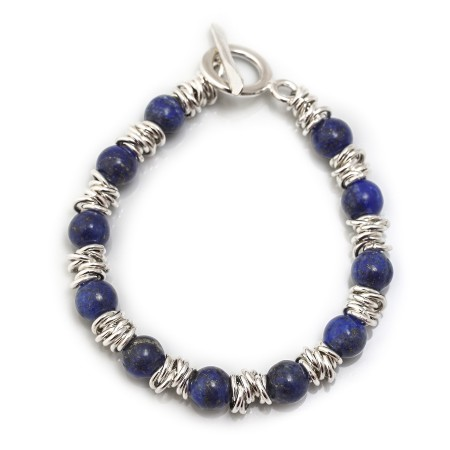 Classic Sterling Silver Multi-Links Bracelet With Lapis Lazuli