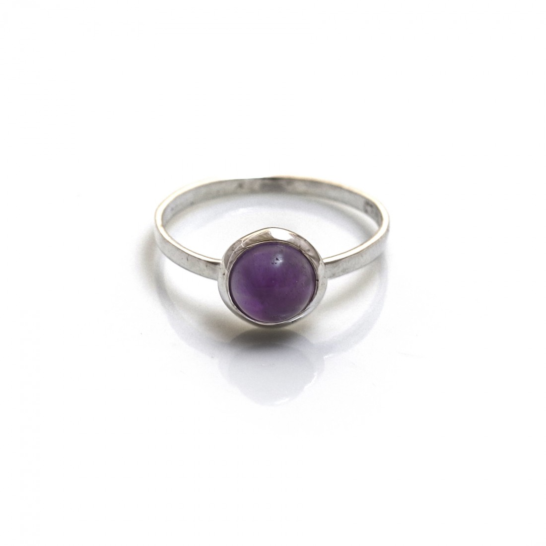 Sterling Silver & Amethyst Classic Round Ring