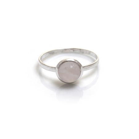 Sterling Silver & Rose Quartz Classic Round Ring