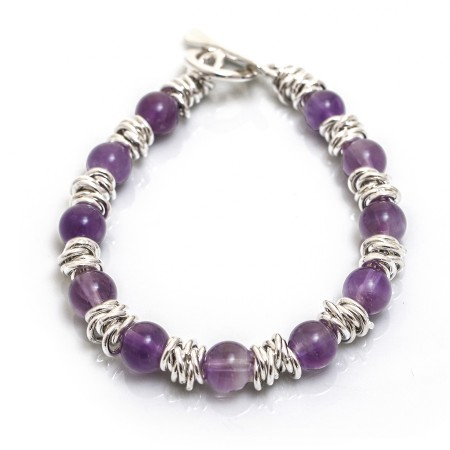 Classic Sterling Silver Multi-Links Bracelet With Amethyst