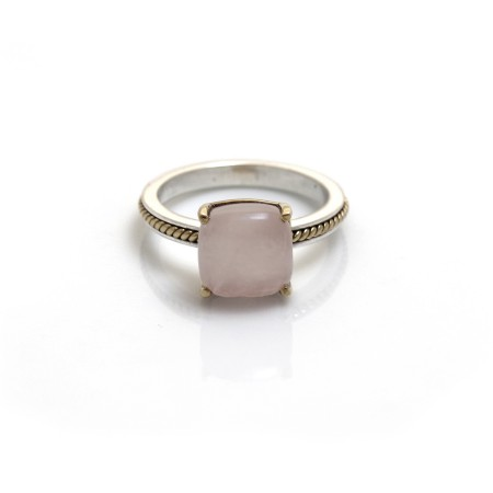Sterling Silver & Two Tone Rose Quartz Stone Ring