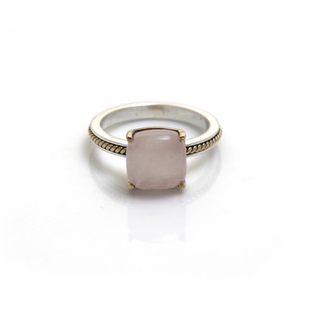 Sterling Silver & Two Tone Rose Quartz Stone Ring