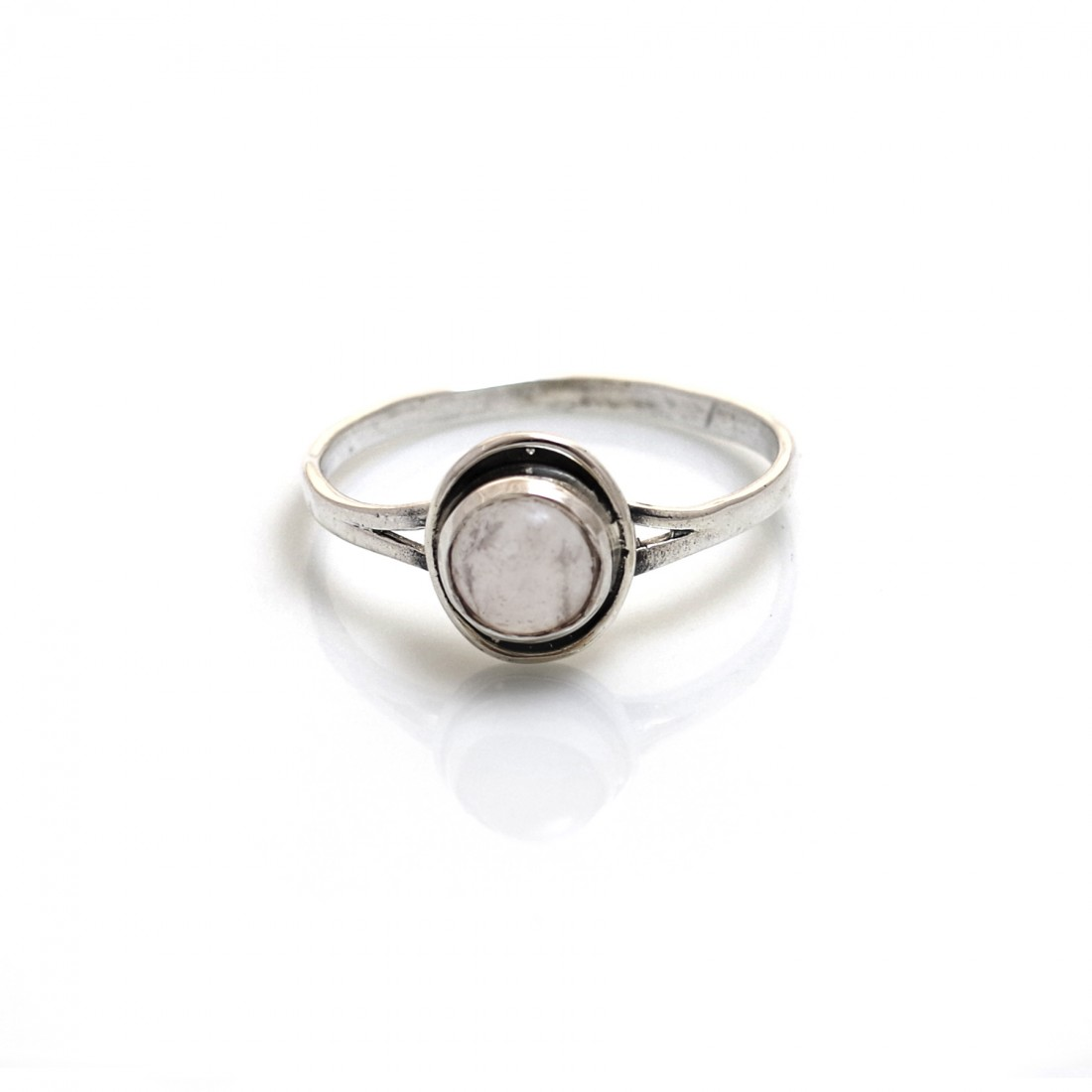 Sterling Silver & Rose Quartz Edge of Darkness Ring