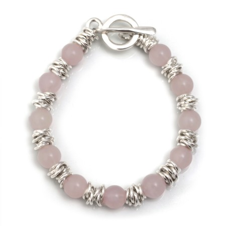 Classic Sterling Silver Multi-Links & Rose Quartz Bracelet