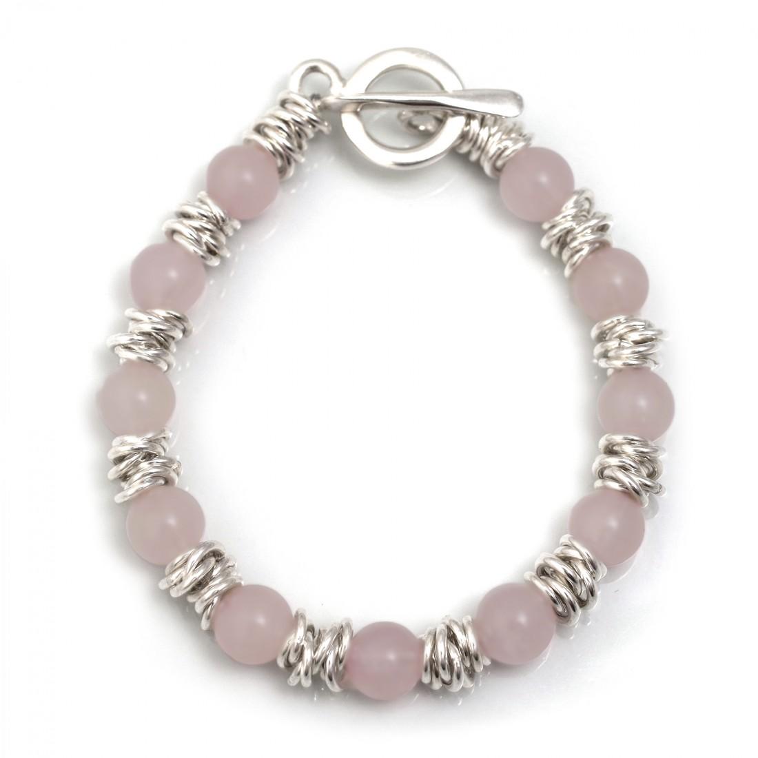 Classic Sterling Silver Multi-Links & Rose Quartz Bracelet