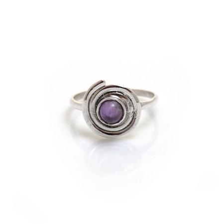 Sterling Silver & Amethyst Swirl Ring