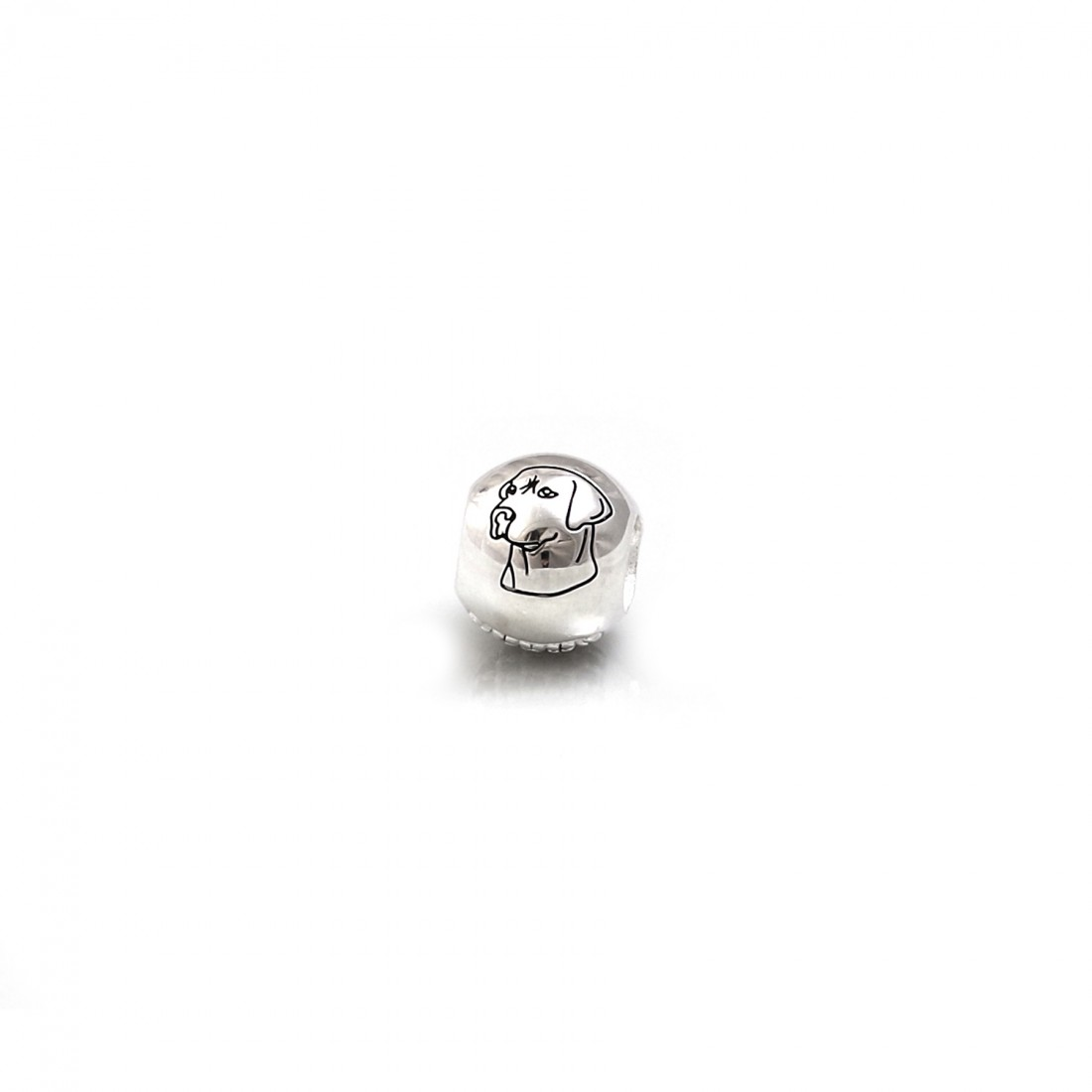 Exclusive Sterling Silver & CZ Labrador Roller Ball Bead