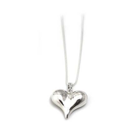 Sterling Silver Curvaceous Heart Pendant With Silver Chain
